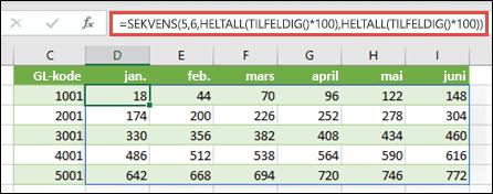 SEKVENS-eksemplet er nestet med HELTALL og TILFELDIG for å opprette et prøvedatasett