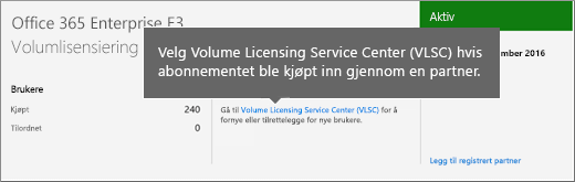 Kobling til Servicesenter for volumlisensiering (VLSC).