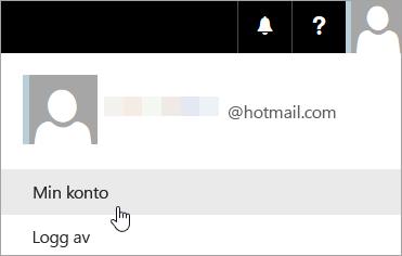 Skjermbilde som viser hvordan du merker Min konto fra rullegardinlisten.
