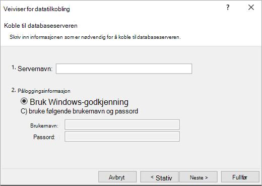 Data veiviseren for datatilkobling skjermen 1
