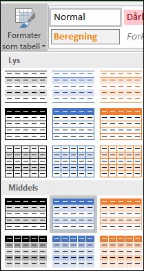 Valgene i Stilgalleriet i Excel for Formater som tabell