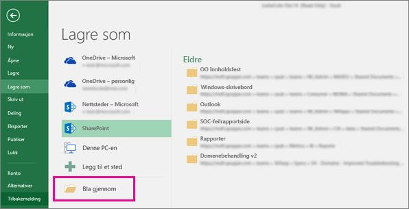 Klikk en SharePoint-mappe eller Bla gjennom