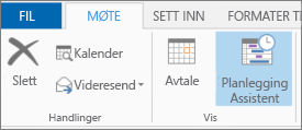 Planleggingsassistent-knappen i Outlook 2013.