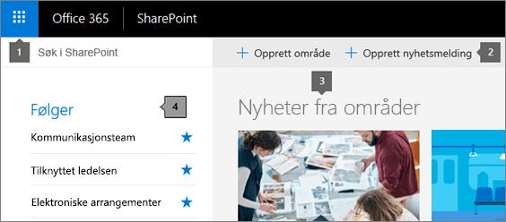 SharePoint Online hovedsiden