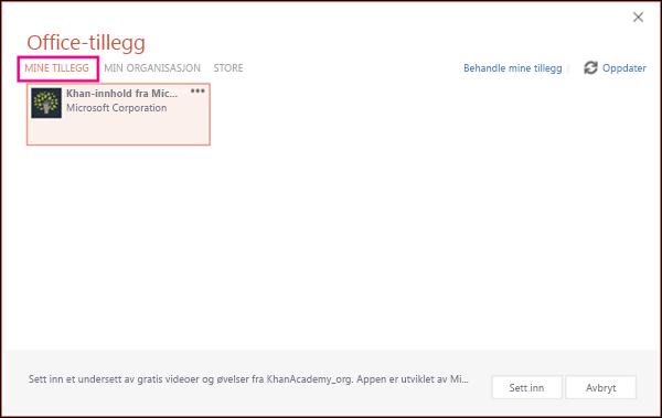 Dialogboksen Office-tillegg med Mine tillegg uthevet