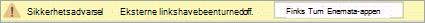 Velg knappen for å aktivere koblinger til eksterne apper i denne filen.