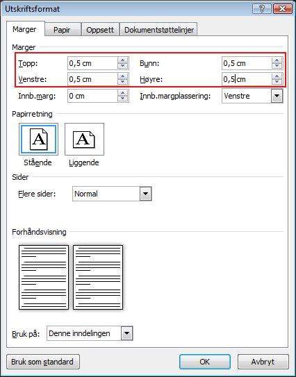 Skriv inn margstørrelser i boksene Topp, Bunn, Venstre og Høyre.