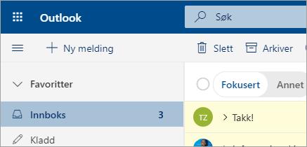 Et skjerm bilde av e-post i Outlook på nettet beta