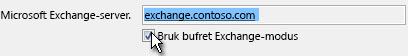 Bruk avmerkingsboksen Bruk bufret Exchange-modus