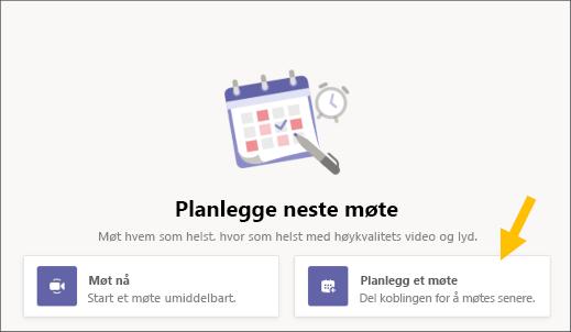 Velg Knapp for Planlegg et møte