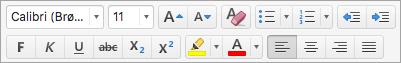 Viser alternativer for tekstformatering