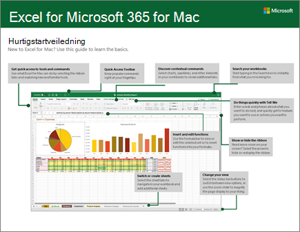 Hurtigstartveiledning for Excel 2016 for Mac