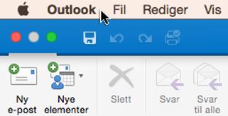 Hvis du vil se hvilken versjon av Outlook du har, velger du Outlook på menylinjen.