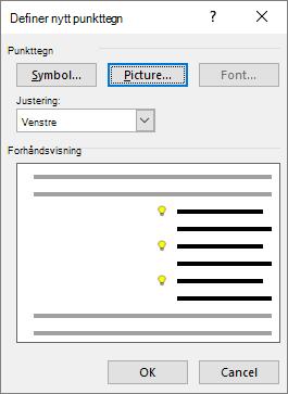 Nye punkt-skjermen med bilde som er valgt
