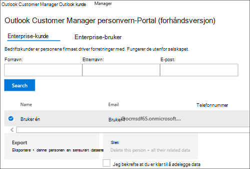Skjermbilde: Eksporter Outlook Customer Manager kundens data