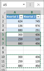 Ved å lime inn data under tabellen utvides tabellen slik at dataene blir inkludert