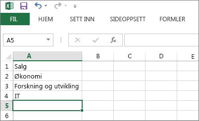 Opprette en rullegardinliste med oppføringer i én enkelt kolonne eller rad i Excel