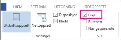 Skjermbilde av visning-fanen i Word 2013, som viser at linjal-alternativet er valgt og uthevet.