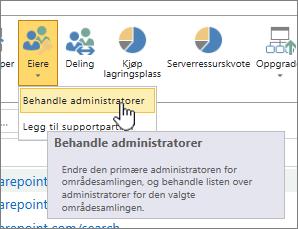 SPO område administrator eiere-knappen med behandle administratorer uthevet.