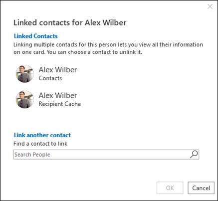 Søk etter en kontakt som skal kobles til.