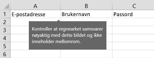 Celleoverskrifter i Excel-overføringsfilen