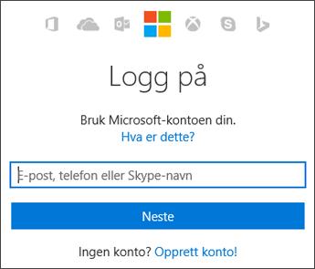 Skjermbilde av påloggingssiden der du skriver inn Microsoft-kontoen du bruker med Office