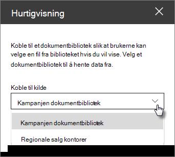 Egenskaps ruten fil visning med koble til kilde-rullegardinliste