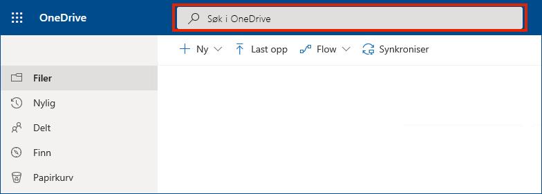 OneDrive for Business på nettet med søkefeltet øverst