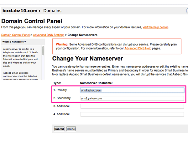 Slette navneserverne på siden Update Name Servers