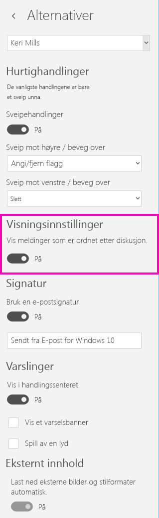 Slå av samtalevisningen i E-post-appen for Windows 10