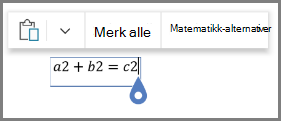 Med matematiske alternativer for formler