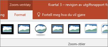 Viser Zoom-verktøy på Format-fanen på båndet i PowerPoint.