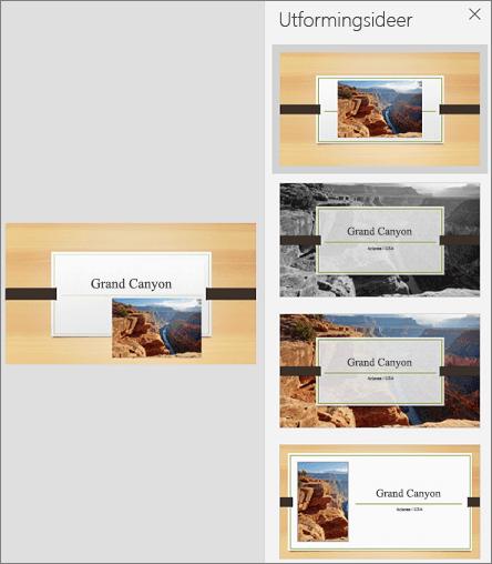 Eksempel på mobilversjonen av PowerPoint Designer