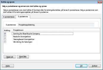 Dialogboksen Koble og spore på fanen e-postemne med Forretningsprosjekt merket av.