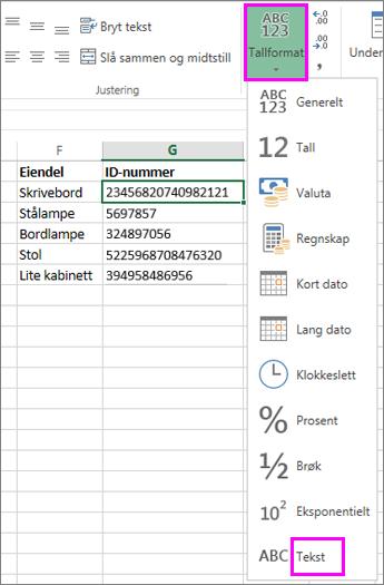 bruke tekstformat på tall