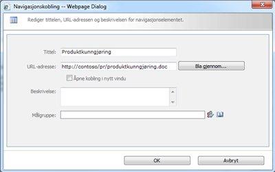 Dialogboksen Navigasjonskobling