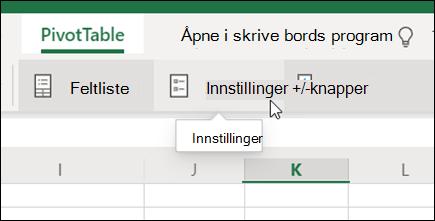 Innstillinger-knappen på PivotTable-fanen i Excel på nettet