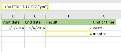 """=DATODIFF(D17,E17,""""ym"""") og resultat: 4"""