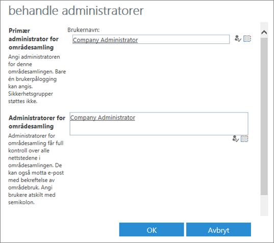 Dialogboks for område-administrator.