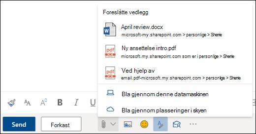 Legge ved filer som viser foreslåtte vedlegg