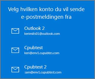 Velg en konto å sende en e-post fra