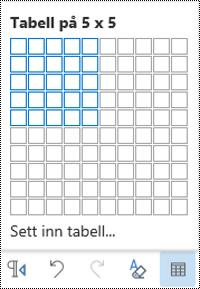 Tabell rute nett i Outlook på nettet.