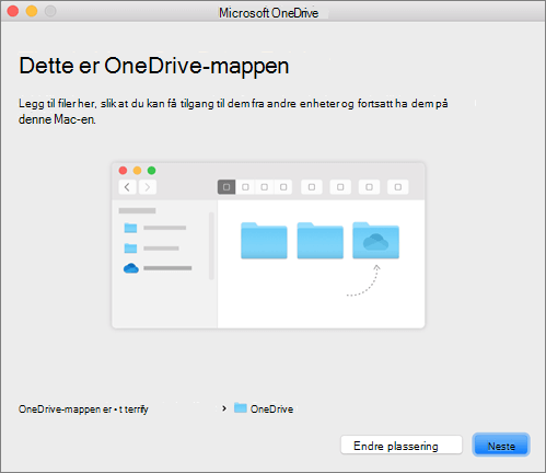 Skjermbilde av siden Dette er OneDrive-mappen din i veiviseren Velkommen til OneDrive på Mac