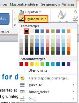 Hvis du vil endre fargen på omrisset på Format-fanen i Figurstiler-gruppen, bruker du Figuromriss.