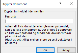 Krypter dokument-dialogboks