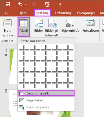 Viser alternativet Tabell på Sett inn-fanen på båndet i PowerPoint