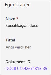 Dokument-ID vist i detalj ruten