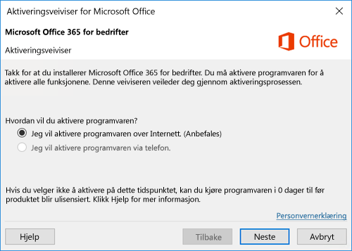 Viser aktiveringsveiviseren for Office 365 Business