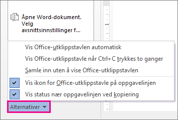 Alternativer for utklippstavlen i Word 2013