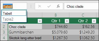 Excel adresselinjen til venstre for formellinjen.